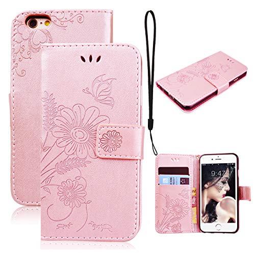 CE-Link Funda Apple iPhone 7, Funda Piel para iPhone 7 con Retro Flor, Soporte Plegable Ultra Fina Piel Premium con Cierre Magnético, iPhone 7 Case Cover Carcasa Fina y Resistente - Rose Gold
