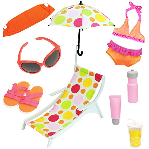 Beach Set with Swimsuit and Accessories, 10 Pieces