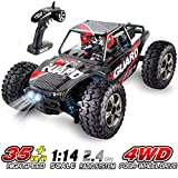 RC Car for Adults and Kids, HisHerToy Remote Control Truck, 1:14 Scale 4WD 2.4 GHz 35km/h High Speed All Terrain RC Car with 2 Headlights, Rechargeable Remote Control Car for Boys Girls Xmas Toy Cars