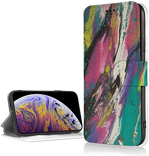 Bernice Winifred Estuche Impresionante con Pintura Abstracta para iPhone XR Estuche con Billetera de Cuero PU de Lujo Funda con Tapa Tipo Folio con Ranuras para Tarjetas Correa de muñeca