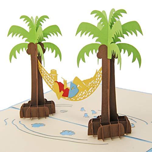 Favour Pop Up Grusskarte mit jungem Mann in Hängematte zwischen Palmen. Aufwändige Handarbeit und ausgefeilte Lasertechnik schaffen auf kleinstem Raum ein filigranes Kunstwerk. TF019