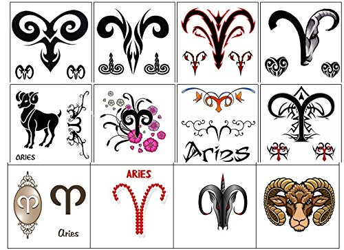 segno zodiacale stella zodiac star sign Collezione di tatuaggi temporanei Temporary Tattoos collection (Tatuaggio di Ariete Aries tattoo)