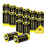 Batteria CR123A 1500mAh 3V, Confezione da 16, Batteria al Litio Monouso Non Ricaricabile per Flashlight, Macchina Fotografica, Torcia, Giocattoli, Microfono, Telecomando, Rasoio, ECC.
