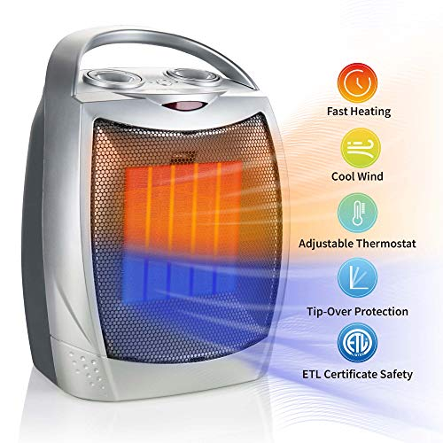 750W/1500W Ceramic Space Heater, Electric Portable Room Heater with Adjustable Thermostat and overheat