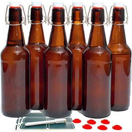 Otis Classic Swing Lid Glass Bottles with Lids Flip Stoppers for Second Fermentation Kombucha Water Kefir Brewing Beer Set of 6 16 oz Amber