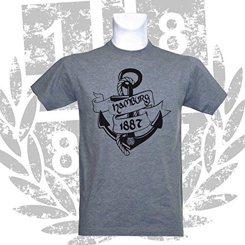 1887  Streetwear Hamburg T-Shirt Anker, Grau Meliert