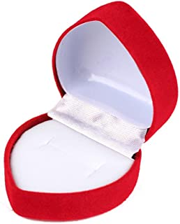 Niome 2PCS Mini Cute Red Heart Shaped Velvet Ring Box Jewelry Display Organizer Holder Storage Case