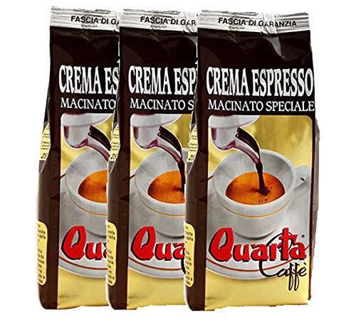 QUARTA Caffè miscela CAFFE' ESPRESSO macinato dall'aroma dolce e intenso 250gr - 3 buste Caffè CREMOSO COME AL BAR Fine blend of coffee processed in Salento, Apulia, Feine kaffeemischung aus Salento