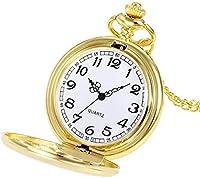 懐中時計クラウンユニセックスファッションブロンズチェーンネックレス時計ユニセックスネックレスチェーンアワー時計結婚式のギフト (ゴールド)