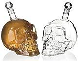 Bottiglia a Forma di Cranio per Liquore - 500ml - Caraffa di Vetro di Cristallo Cranio Bot...