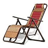 FTFTO Office Life Sun Lounger Folding Lounger, Sun Lounger Chair for Camping and Garden with Headrest Weaving Bamboo Mats Office Siesta Chair (Color : Red)