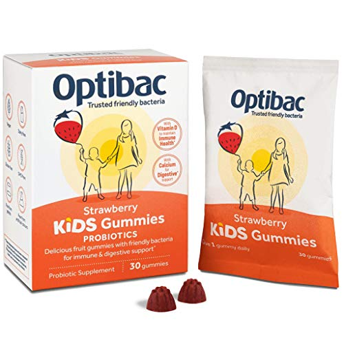 New Optibac Kids Gummies | Friendly Bacteria Supplement with Calcium & Vitamin D3 for Digestive & Immune Support | Pack of 30