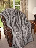Luxury Fake Fox Fur Throw Blanket Faux Fur Throw Blanket Gray 99'x102' King Size Fake Fur Throw Blanket