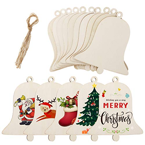 MELLIEX 40pcs Rodajas de Madera de Navidad, Campanas Rodajas de Madera Manualidades Bricolaje Artesanías Decoraciones para el Hogar del árbol de Navidad