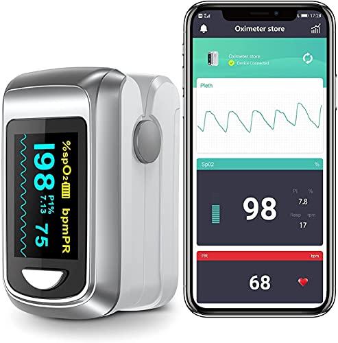 Monitor Bluetooth Oxygen con aplicación gratuita para iPhone y Android, nivel de saturación de oxígeno continuo y frecuencia cardíaca con informe profesional. ⭐