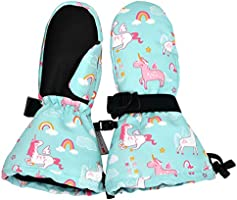 Jan & Jul Waterproof Stay-on Winter Snow and Ski Mittens Fleece-Lined for Baby Toddler Kids Girls (S: 2-4Y, Unicorn)