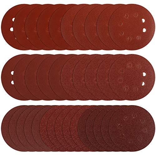 35pcs Sanding Discs 5 Inches 8 Holes Hook and Loop Adhesive Sanding Discs Sandpaper for Random Orbital Sander 40 60 80 120 180 240 320 Grits,STUHAD