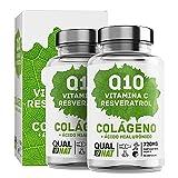 Colágeno marino con ácido hialurónico| Coencima Q10 - Vitamina C - Resveratrol | Colágeno Marino Piel Radiante| Huesos y Articulaciones Fuertes - 180 Comp