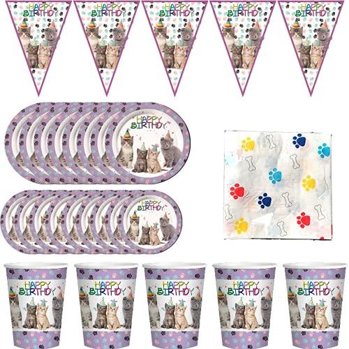 Warring States Nette Katze Geschirr Paper Platten Tassen Servietten Flaggen Geburtstagsfeier Babyparty Cats Thema Pet Party Decor Supplies