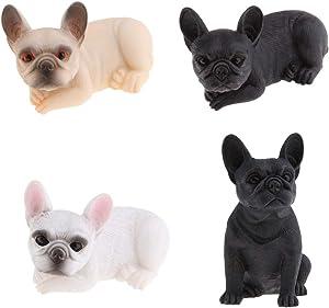 F Fityle 4 X Resina Artigianato Animale Figura Bulldog Francese Statua Giardino Scultura Ornamento per Interni Foto Prop