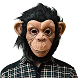 QTMY Latex Rubber Grotesques Ugly Horrible Apes Gorilla Monkey Mask with Hair for Halloween Party...