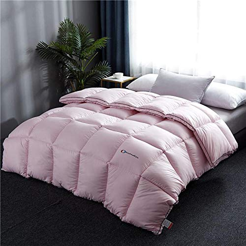 Hahaemall Winter Duvet King Size White Goose Downfilled Winter Duvet Quilt - Anti-Dust Mite & Feather-Proof Fabric - For All Season Use-Pink_200X230Cm-4Kg