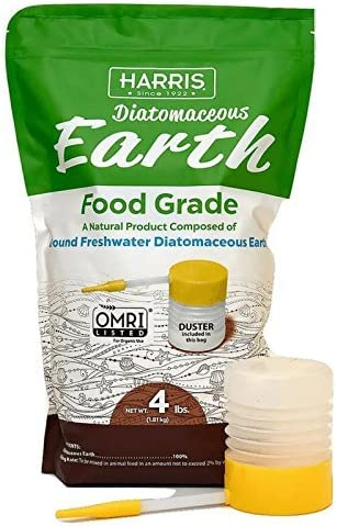 HARRIS DE-FG4P Diatom Diatomaceous Earth Food Grade, 4lb w/Free, Duster, Orinal Vesion