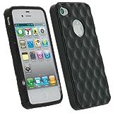 igadgitz U1334 Burbujas TPU Gel Funda compatible con Apple iPhone 4 & 4S 4G 16gb 32gb 64gb + Pantalla Protector - Negro