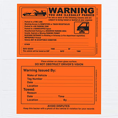 Parking Violation Sticker - Vehicle Illegally Parked Tow Notice - Parking Violation Notice - No Parking Warning Stickers - 5.5 x 7.5 Hard to Remove Stickers - Pack of 50 (Orange) Photo #4