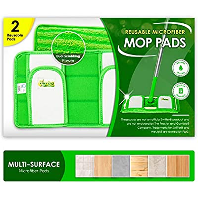 Reusable Pads Fit Swiffer Sweeper Mops - Washable Microfiber Mop Pad Refills by Turbo - 12 Inch Floor Cleaning Mop Head Pads Work Wet and Dry - 2 Pack