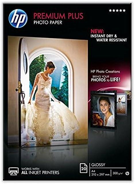 HP Premium Plus CR672A- Papel fotográfico satinado (20 hojas A4)