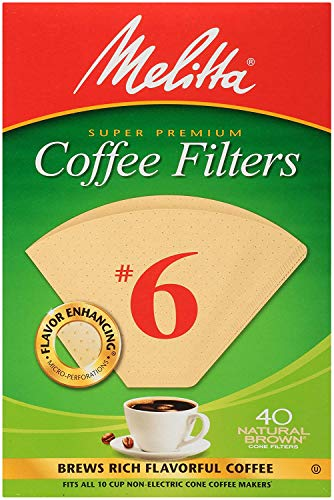 Melitta Cone Coffee Filters, Natural brown, No. 6, 40-Count Filters Pack of 2 (80 Filters Total)