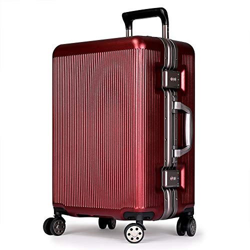 fosa1 Hand Luggage Trolley case PC Trolley Case, Men And Women Suitcase, Retro Boarding Universal Wheel, 20, 24 Inch (Color : Red, Size : 20inch)