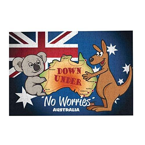 Australien mit Koala-Känguru und Flagge, Bildpuzzle 300 Holzspielteile Puzzles Erwachsene Kinder Heimdekoration 38 x 26 cm