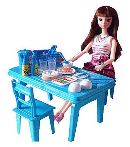 Black Temptation Beau Lovely Girls Play House Jouets Mini Girls and Furniture Jouets Modèle Bleu