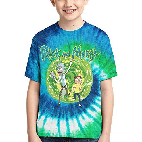 XCNGG R-i-c-k y M-or-ty Camiseta Verde de Manga Corta con teñido Anudado para jóvenes, Camiseta para niños y niñas Adolescentes