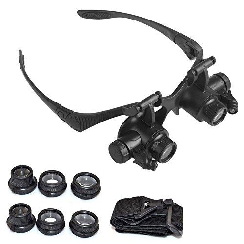Lupa de 8 lentes, lupa de cristal para reparación de relojes, joyería, con luz Led, de Starmood.