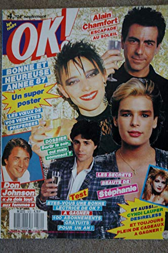 OK ! âge tendre 572 DEC 1986 POSTER STARS CYNDI LAUPER DESIRELESS ALAIN CHAMFORT DON JOHNSON STEPHANIE MONACO
