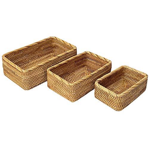 ALA7 Rattan Storage Basket Handmade Wicker Baskets For Storage Display Gifts, Rectangle Bread Baskets For Serving, Fruit Holder Food Tray(Set of 3-Size)