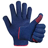 MIG4U BBQ Grill Gloves,Oven Gloves Extreme 500 Degrees Heat Resistant Grilling Gloves with Food Grade Non-Slip Silicone Dots for Cooking, Grilling, Baking, Smoker, Barbecue, Kitchen(10' Blue)