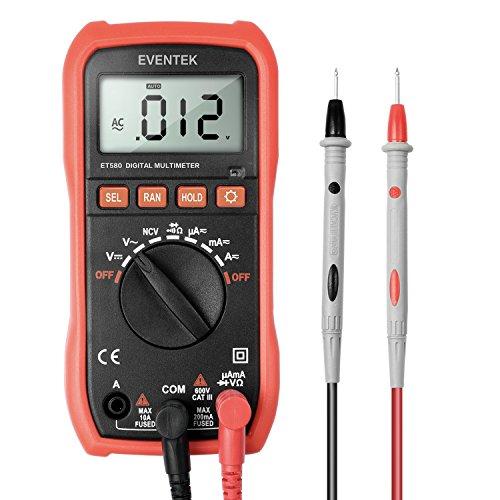 Eventek Digital-Multimeter Tester AC/DC-Spannung, AC/DC Strom, Spannung, Widerstand, Kapazität, Kontinuität, Frequenz, hintergrundbeleuchtung (580)