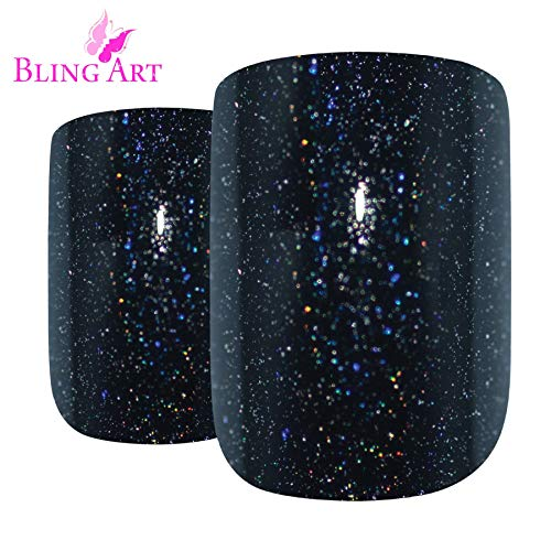 Faux Ongles Bling Art Noir Gel 24 Squoval Moyen Faux bouts d'ongles acrylique avec de la colle