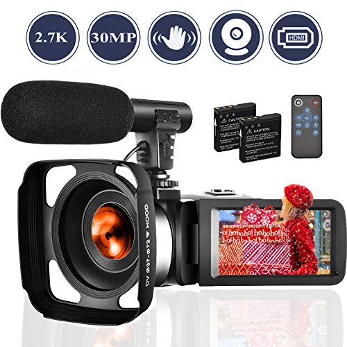 Camcorder 2.7K Video Camera for YouTube 30MP Digital Camera Vlogging Cameras Vlog Camcorders with Two Batteries and Microphone