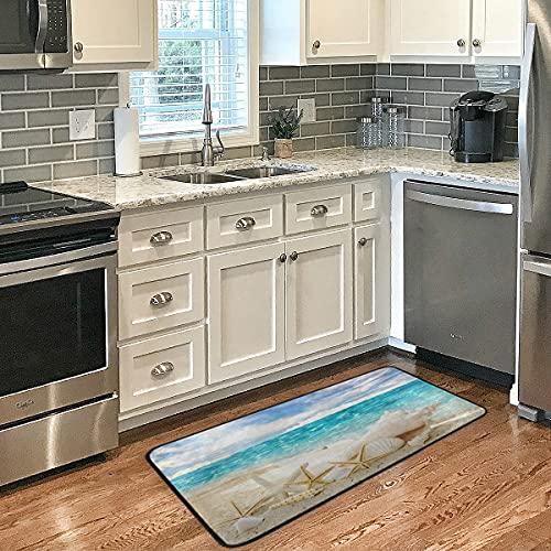 Beach Starfish Shell Non-Skid Kitchen Mat Bath Rugs - Floor Door Mat, Area Rug Doormat for Living Room Laundry Room Bathroom 39 x 20 Inch
