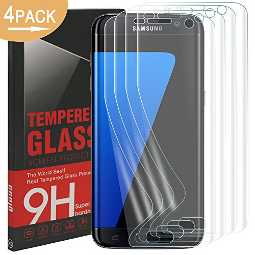 [4 Stück] Galaxy S7 Edge Schutzfolie, Rusee Clear Screen Protector Klar Panzerfolie Display Schutzfolie Displayschutz Folie Anti-Fingerabdruck Displayschutzfolie für Samsung Galaxy S7 Edge