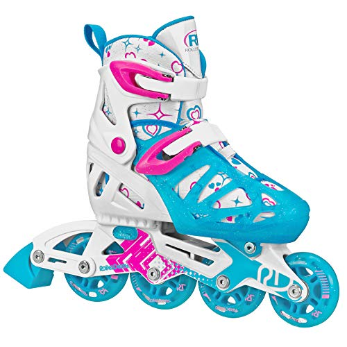 Roller Derby Girls Tracer Adjustable Inline Skates (Blue, Medium (2-5))