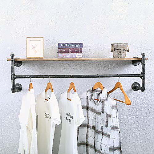 Industrial Pipe Clothing Rack Wall Mounted with Real Wood Shelf,Rustic Retail Garment Rack Display Rack Cloths Rack,Pipe Shelving Floating Shelves Wall Shelf,48in Steam Punk Commercial Clothes Racks steampunk buy now online