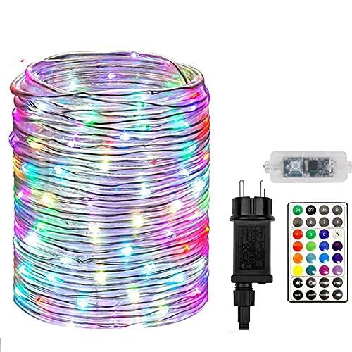 Led lichterschlauch,20m 200 LED Schlauch Lichterkette mit EU-Stecker,Wasserdicht Bunt LED Lichtschlauch Außen mit Fernbedienung für Garten Party Weihnachten