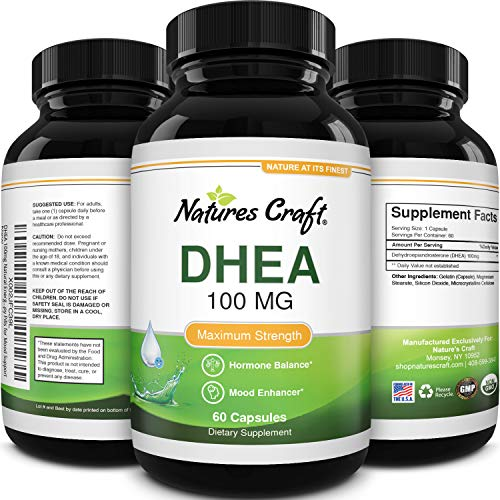 Pure DHEA Supplement for Men and Women - DHEA 100mg Natural - Womens Health DHEA Pure Thyroid Support Supplement