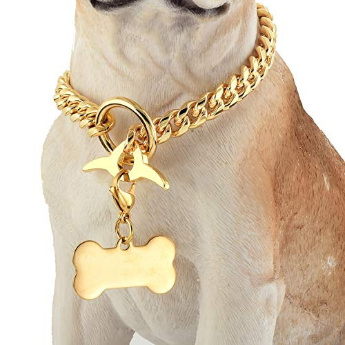Jewelry Kingdom 1 Dog Chain Collar 18K Cuban Link Chain 10MM Strong Heavy Duty Chew Proof Adjustable Training Walking Collar with Toggle Clasp and Dog Tag for Small Dogs (10MM, 10')